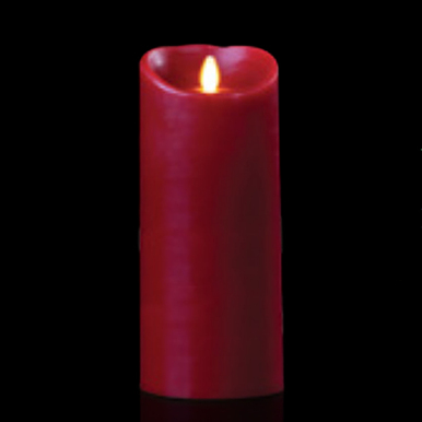 Luminara Burgundy 4 Inch x 9 Inch Pillar Candle - Remote Ready