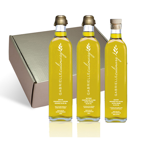Gourmet Olive Oil Trio in Silver Gift Box