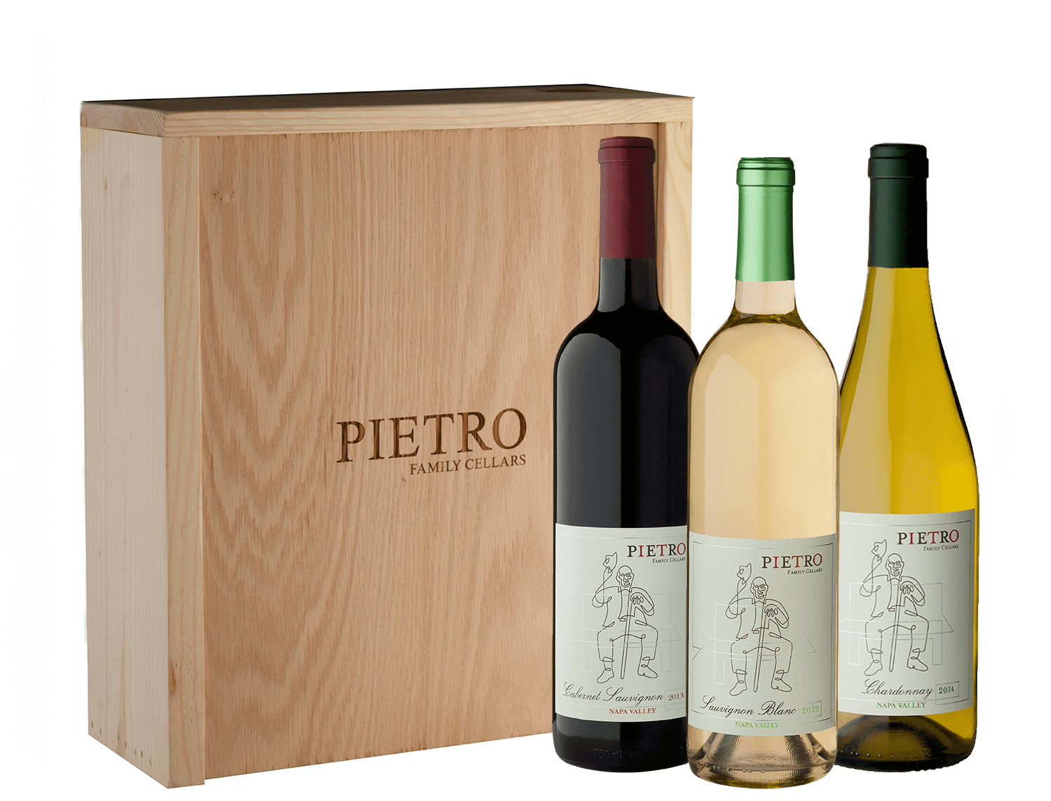 Pietro Family Cellars Trio in Wood Gift Box