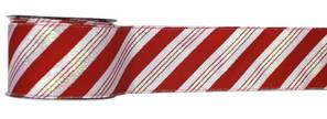 #40 Wired Ribbon Red and White Candy Cane Stripe