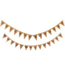 12 foot Burlap Pennants