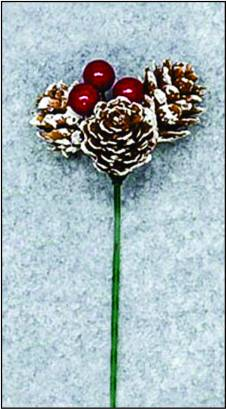 3 Pine Cone Pick with Berries - Small Frosted_THUMBNAIL
