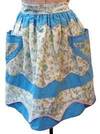 Vintage Apron—Floral Print with Blue Trim