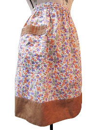 Vintage Apron—Floral Print with Brown Trim