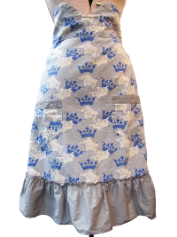 Vintage Apron—Gray with Blue and White Crowns