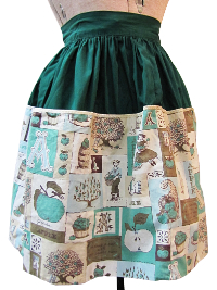 Vintage Apron—Green with Apple Blocks Print