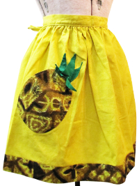 Vintage Apron—Yellow and Brown with Pineapple