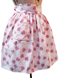 Vintage Apron—Light Pink with Pink and White Flowers