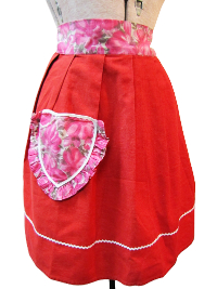 Vintage Apron—Red and Pink