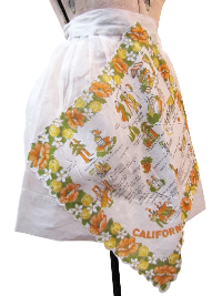 Vintage Apron—White Handkerchief with California Points of Interest