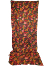 Green Vintage Barkcloth with Deep Red, Orange and Pink Flowers_SWATCH