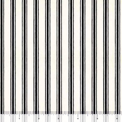 "QT Fabrics ""Hatters Tea Party"" # 26155-J col. Black - Ticking Stripe"