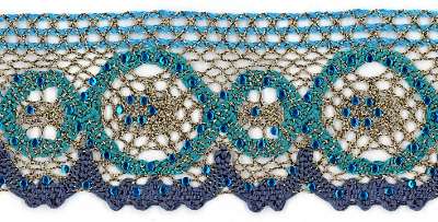 "2 1/8"" Wide Teal and Gold Trim — 09955-D-000 col. 105"