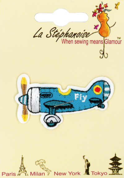 Blue Airplane Appliqué by La Stéphanoise - # 15803 col. 004