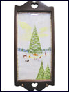Hand Painted Wall Hanging Key Holder with Original Artwork - Christmas in the Forest Mini-Thumbnail