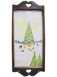 Hand Painted Wall Hanging Key Holder with Original Artwork - Christmas in the Forest