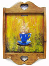 Hand Painted Wall Hanging Key Holder with Blue Coffee Cup Artwork Mini-Thumbnail