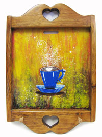 Hand Painted Wall Hanging Key Holder with Blue Coffee Cup Artwork