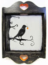 Hand Painted Key Holder with Spooky Raven and Jack-O'-Lantern Halloween Artwork Mini-Thumbnail