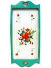 Hand Painted Wall Hanging or Tray with Seafoam Border and Fruit and Flower Artwork Mini-Thumbnail