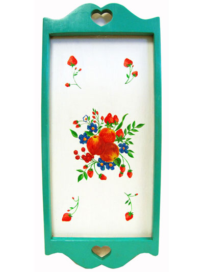Hand Painted Wall Hanging or Tray with Seafoam Border and Fruit and Flower Artwork