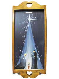 Hand Painted Wall Hanging Key Holder with Original Artwork - Nativity Scene
