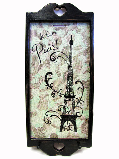Hand Painted Decoupage Wall Hanging Key Holder with Paris Artwork