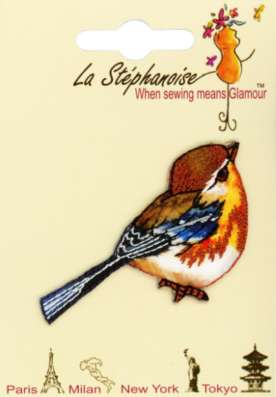 Brown and Blue Bird Appliqué by La Stéphanoise - # 15827 col. 001