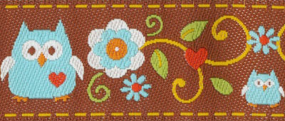 Trim MM - blue owls and flowers, brown background