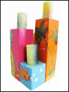"Tropical ""Hawaiian"" Theme Wooden Pillar Candle Holder Set of 4_SWATCH"