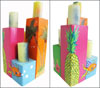 "Tropical ""Hawaiian"" Theme Wooden Pillar Candle Holder Set of 4 Mini-Thumbnail"