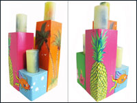 "Tropical ""Hawaiian"" Theme Wooden Pillar Candle Holder Set of 4"
