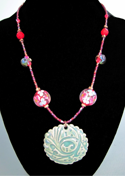 Red and Green Ceramic Pendant Necklace