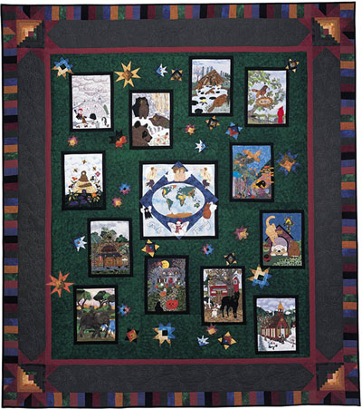 "Piecemakers 2004 Calendar Quilt — ""For God So Loved the World""  *SALE"