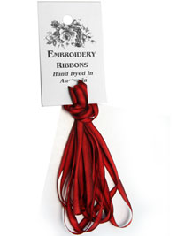 Silk Ribbon Hand Dyed in Australia — 4mm Red Roses (4 yards)