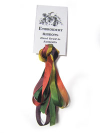 Silk Ribbon Hand Dyed in Australia — 7mm Autumn Sonata (2 yards)