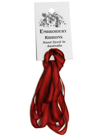 Silk Ribbon Hand Dyed in Australia — 7mm Red Roses (2 yards)