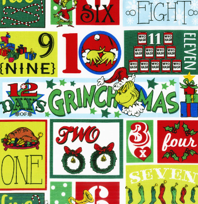 """Robert Kaufman """"How the Grinch Stole Christmas 8"""" # 17493-223-HOLIDAY - 12 Days of Grinchmas Squares – Piecemakers Country Store Online Store"""