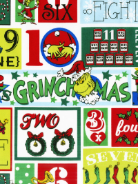 "Robert Kaufman ""How the Grinch Stole Christmas 8"" # 17493-223-HOLIDAY - 12 Days of Grinchmas Squares"