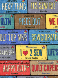 "Timeless Treasures ""Row by Row"" # C5061 col. MULTI - License Plates"