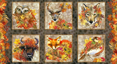"In The Beginning Fabrics ""Our Autumn Friends"" # 1OAF-1 – Autumn Animal Panel MAIN"
