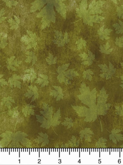 "In The Beginning Fabrics ""Our Autumn Friends"" # 7OAF-2 – Green Autumn Leaves_MAIN"