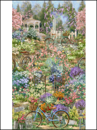 "Timeless Treasures ""Dona"" # C4832 – Bicycle Gazebo Garden Scene Panel - PRICED PER PANEL"
