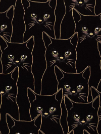 "Hoffman ""Full Moon"" # P-4347-4G - Black Cats with Gold Outline"