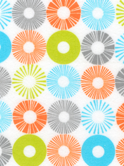 "Robert Kaufman ""Cozy Cotton"" Flannel # SRKF-13769-237-Bermuda - Orange, Green, Blue and Gray Circles"