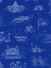 "Quilting Treasures ""California Here We"" #1649-24688-Y - California Landmarks on Blue"