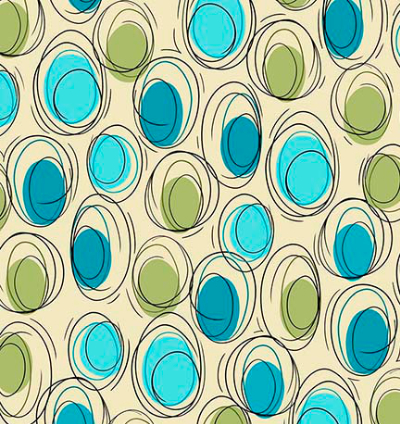 "QT Fabrics - Ink & Arrow ""Thalia"" # 1649-26385-EQ CREAM - Cream and Aqua Circle Geometric_MAIN"