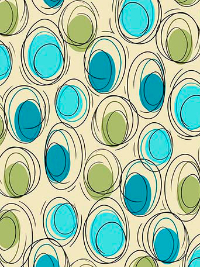 "QT Fabrics - Ink & Arrow ""Thalia"" # 1649-26385-EQ CREAM - Cream and Aqua Circle Geometric"