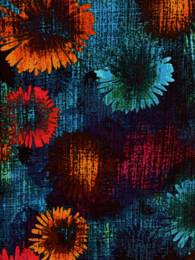 "Kanvas Studio ""Patio Splash"" # 08559-84 – Bright Flowers on Blue_MAIN"