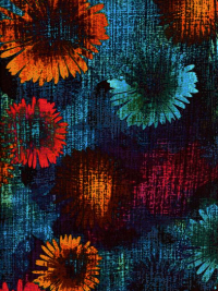 "Kanvas Studio ""Patio Splash"" # 08559-84 – Bright Flowers on Blue"